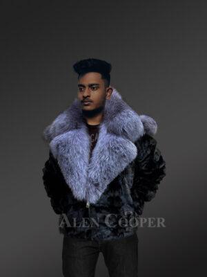Men Black mink jacket with diamond finish for stylish
