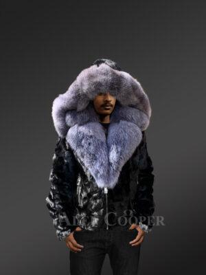 Mens Black mink jacket with diamond finish for stylish