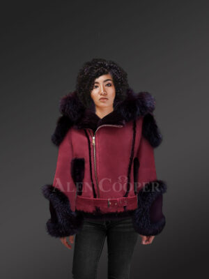 Women's wine suede-finish shearling jacket with fox fur