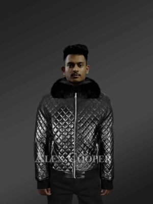 Leather Quilted Bomber Jacket With Fox Fur Collar