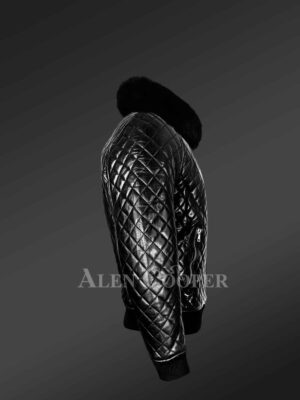 Leather Quilted Bomber Jacket With Fox Fur Collar side view