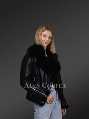 Black Toscana shearling ladies' coat assures perfect fit side view