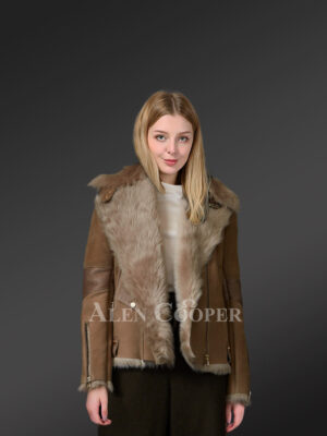 Brown Toscana shearling coat blending feminism with style view