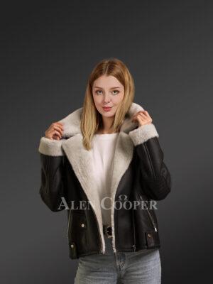 Black jackets for stylish women from genuine shearling pelts