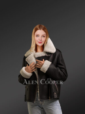 Black jackets for stylish womens from genuine shearling pelts