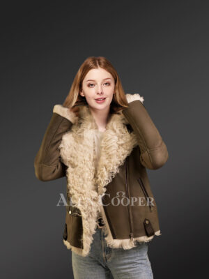 Gorgeous brown Toscana shearling coat for tasteful women
