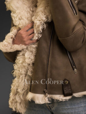 Gorgeous brown Toscana shearling coat for tasteful womens