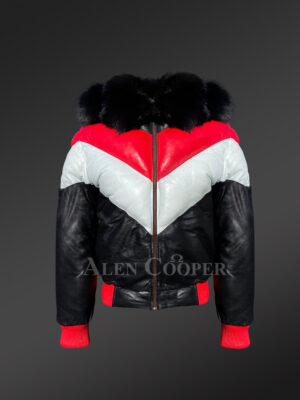 Men's stylish V bomber leather jackets with fur collar and zippered-out fur hood