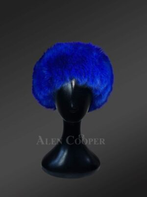 Blue mink fur caps for women inclined to taste