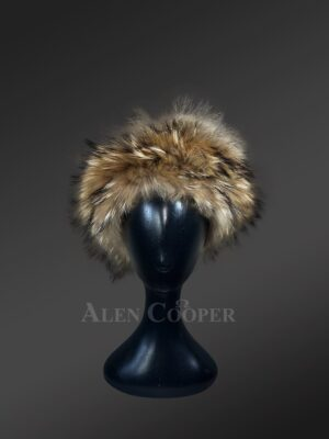Female headbands made from authentic raccoon fur for greater style