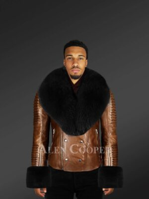 Genuine leather jacket for men with fur hood and handcuffs
