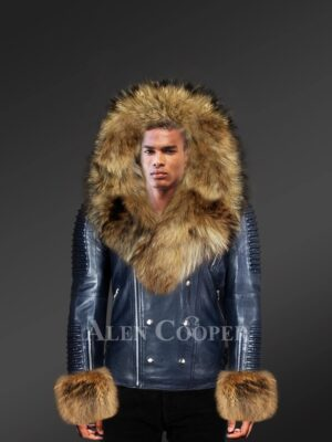 Innovatively designed leather jackets for men with fur hood and handcuffs with model