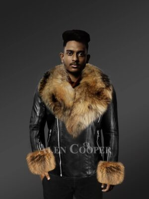 Men's Chic leather jackets with genuine fur collar and handcuffs