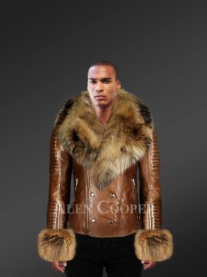 Men's brown leather jacket with genuine fur hood and handcuffs with model