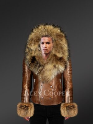 Men's coffee leather jacket with genuine fur hood and handcuffs