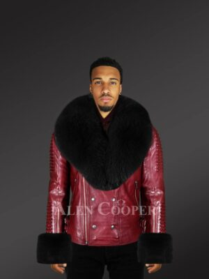 Men's leather jackets in burgundy with fur hood and handcuffs