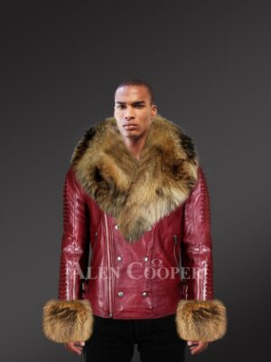 Men's stylish leather jackets with stunning fur hood and handcuffs