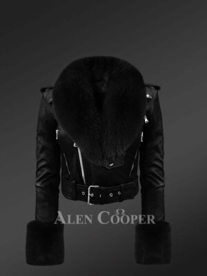 Authentic Leather Jackets In Black With Removable Fur Collar And Handcuffs For