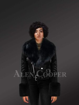 Authentic Leather Jackets In Black With Removable Fur Collar And Handcuffs For model