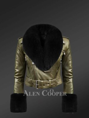 Authentic Leather Jackets In Olive With Removable Fur Collar And Handcuffs For