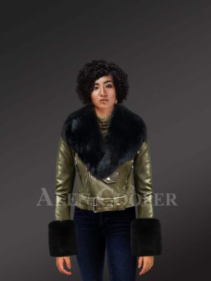 Authentic Leather Jackets In Olive With Removable Fur Collar And Handcuffs For model