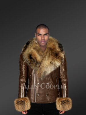 Genuine Leather Jacket For Men With Raccoon Fur Collar And Handcuffs