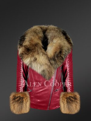Genuine Leather Jackets For Divas With Removable Fur Collar And Hand Cuffs
