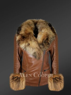 Genuine Leather Jackets For Stylish Divas With Removable Fur Collar And Hand Cuffs