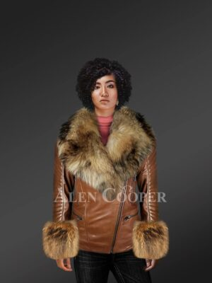 Genuine Leather Jackets For Stylish Divas With Removable Fur Collar And Hand Cuffs model