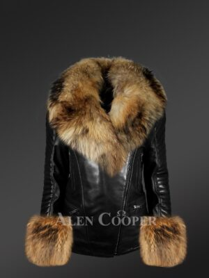 Genuine Leather Jackets For Stylish Divas With Removable raccoon Fur Collar And Hand Cuffs