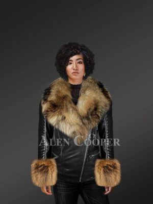 Genuine Leather Jackets For Stylish Divas With Removable raccoon Fur Collar And Hand Cuffs model