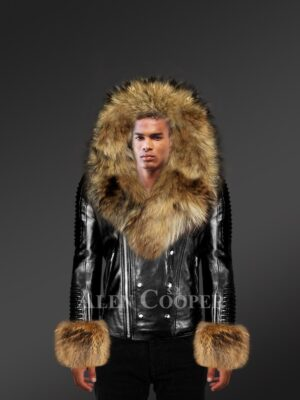 Men's Black Leather Jacket With with Fur Hood And Handcuffs