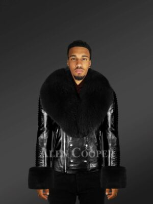 Men's Leather Jackets In Black With Detachable Fur Collar And Handcuffs