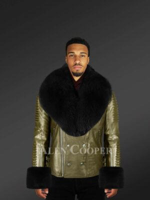 Men's Olive Leather Jacket With Detachable Fur Collar And Handcuffs