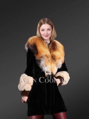 Mink Fur Coat With Fox Fur Collar