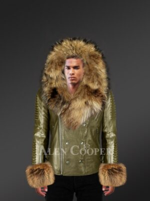Olive Leather Jacket With Fur Hood And Handcuffs For Men