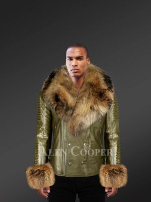 Olive Leather Jacket With Raccoon Fur Collar And Handcuffs for Men