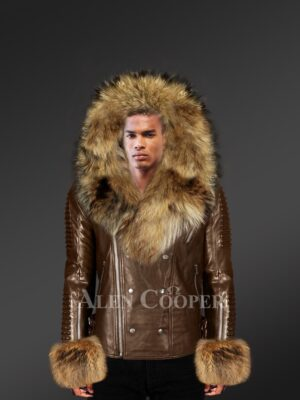 Real Leather Jacket For Men With Fur Hood And Handcuffs