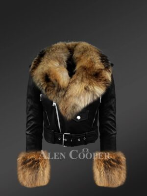 Women's Authentic Leather Jackets In Black With Removable Fur Collar And Handcuffs