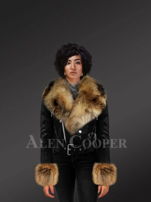 Women's Authentic Leather Jackets In Black With Removable Fur Collar And Handcuffs model