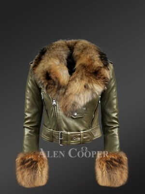 Women's Authentic Leather Jackets In Olive With Removable Fur Collar And Handcuffs