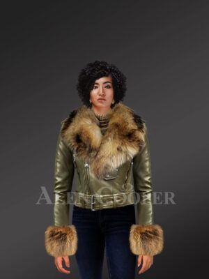Women's Authentic Leather Jackets In Olive With Removable Fur Collar And Handcuffs modle