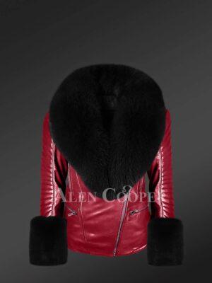 Women's Biker Jacket In Wine With Detachable Fox Fur Collar & Hand Cuffs