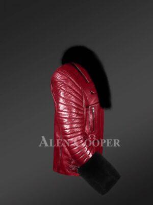 Women's Biker Jacket In Wine With Detachable Fox Fur Collar & Hand Cuffs sideview