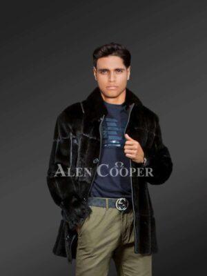 Authentic Black Mink Fur Jacket for man