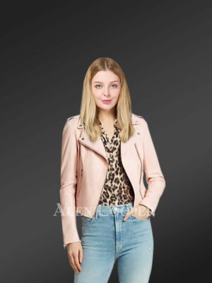 Authentic leather biker jacket in pink for tasteful women