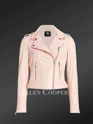 Authentic leather biker jacket in pink for tasteful womens