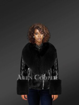 Biker Leather Jacket With Fox Fur Hood And Cuffs