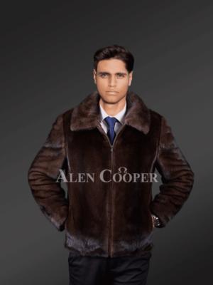 Classic Brown Mink Fur Jacket For Mens