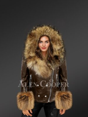 Classic Leather Jacket With Fox Fur Hood Lapels And Cuffs